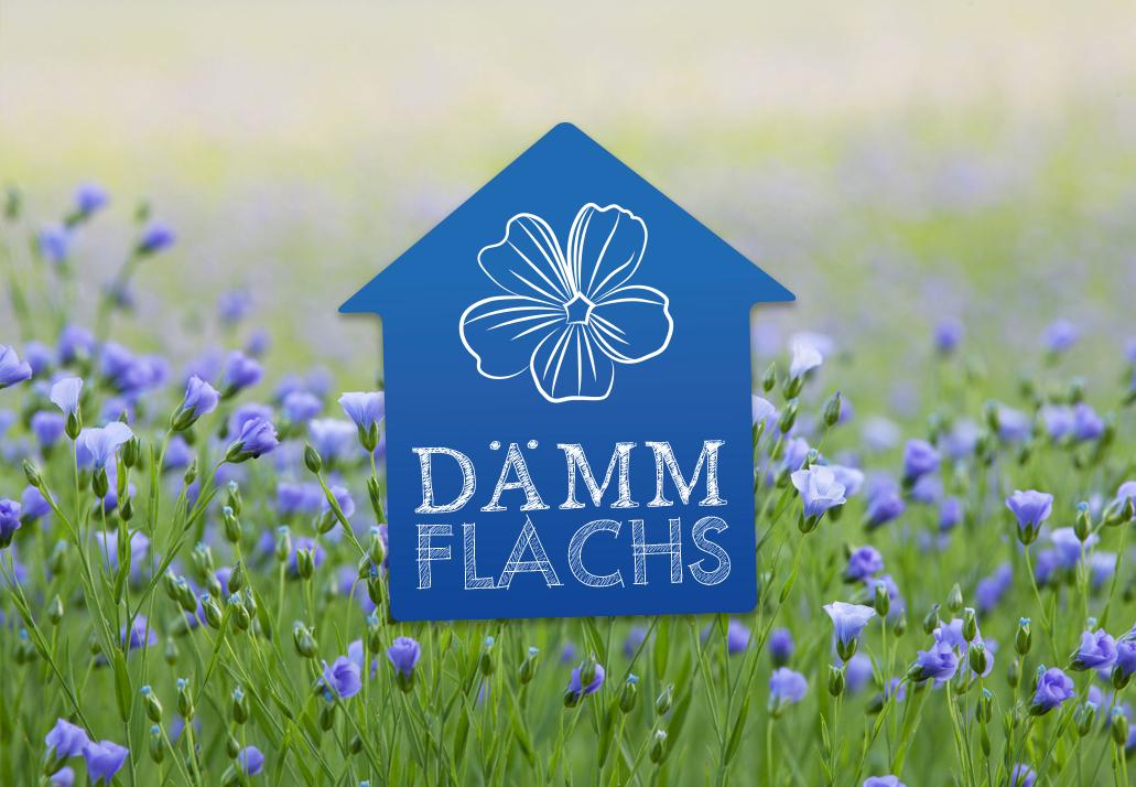 Dämmflachs-Logo auf dem Bild eines Flachsfelds