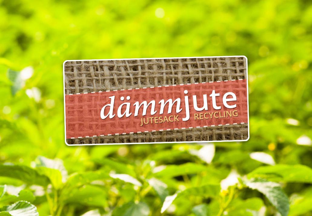 Dämmjute-Logo auf einem Bild mit Jutepflanzen
